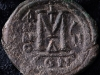 Bronze follis, SBCV 360, DOC I 32d, VF, 13.432g, 30.9mm, 45o, 4th officina, Constantinople mint, 571 - 572 A.D., reverse