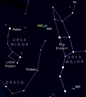 The M81-M82 galaxy pair live in Ursa Major near the Big Dipper.  Credit: Sky and Telescope.