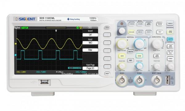 Siglent SDS1102CML Digital Storage Oscilloscope, 100MHz, 7'' TFT-LCD Display