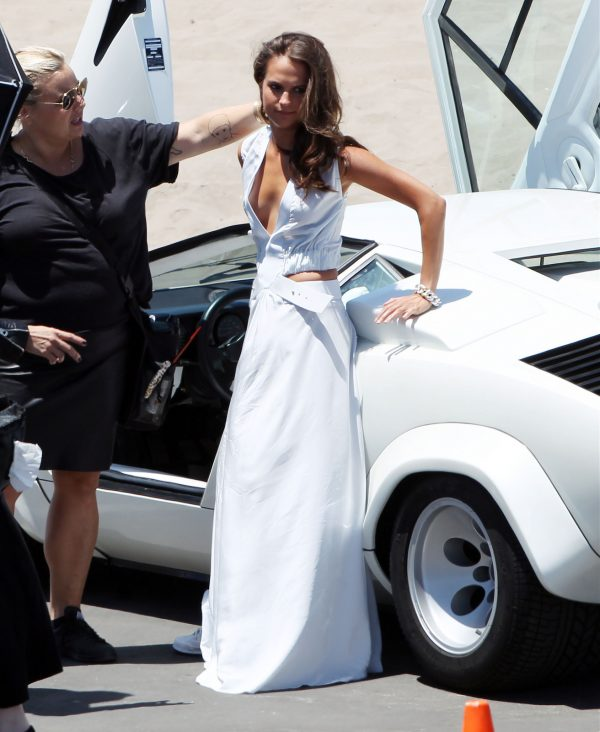 Alicia Vikander - white dress, white lamborghini