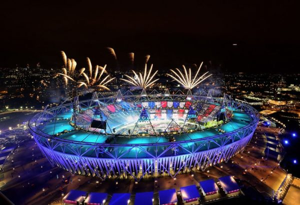 Aerial shot of the stadium aglow_Rio 2016